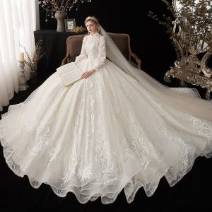Chinese style Ivory See-through Bridal Wedding Dresses 2020 Ball Gown High Neck Puffy Long Sleeve Backless Glitter Tulle Appliques Lace Cathedral Train Ruffle