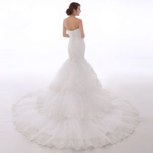Chic / Beautiful Hall Wedding Dresses 2017 White Trumpet / Mermaid Chapel Train Sweetheart Sleeveless Backless Lace Appliques Rhinestone