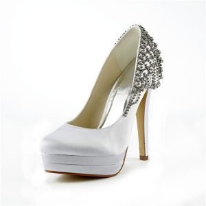 Classic White Pumps Stilettos High Heel Platform Bridal Shoes With Rhinestone