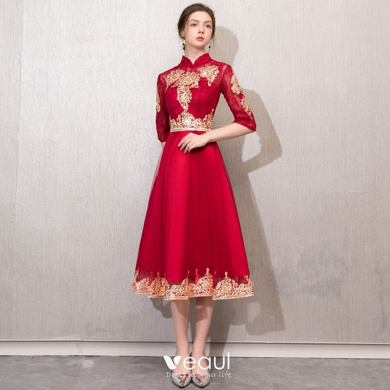 Chinese style Burgundy Evening Dresses  2019 A-Line / Princess High Neck Sequins Lace Flower 1/2 Sleeves Tea-length Formal Dresses