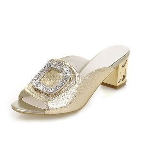 Chic Gold Sandals Leatherette Rhinestone Low Heel Ladies Shoes