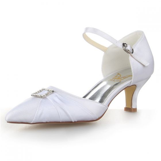 Élégant Bout Pointu Strass Blanc Satin À Volants Talons Bas  Chaussures De Mariée