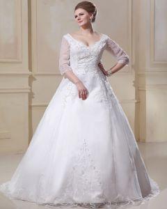 Applique D'organza V Chapelle Du Cou Ainsi Que La Taille De Mariée Robes De Mariage De Robe