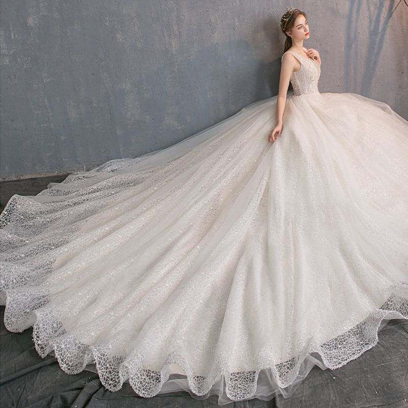 Classy Champagne Lace Wedding Dresses 2019 A-Line / Princess Deep V-Neck Sleeveless Backless Beading Pearl Sequins Glitter Chapel Train Ruffle