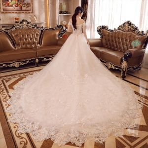 Luxury / Gorgeous Church Wedding Dresses 2017 White Ball Gown Royal Train Off-The-Shoulder Short Sleeve Backless Lace Appliques Beading Flower Pearl Sequins