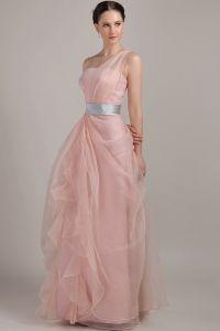 Longues Robe De Soirée Une Épaule Lisse Manches Roses