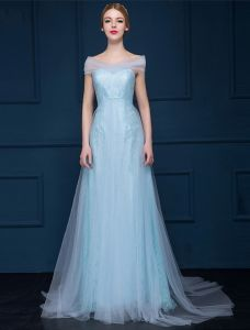 A-line Off-the-shoulder Sweetheart Light Sky Blue Tulle Evening Dress