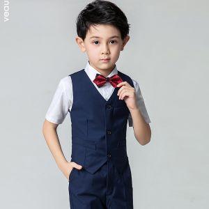 Eenvoudige Zomer Donkerblauwe Jongenspakken 2019 Korte Mouwen Overhemd Broek Das Vest