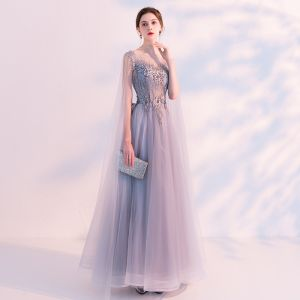 Illusion Grey See-through Evening Dresses  2018 A-Line / Princess Scoop Neck Sleeveless Appliques Lace Beading Watteau Train Ruffle Backless Formal Dresses