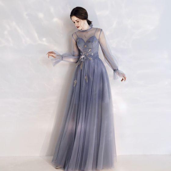 Eleganckie Ciemnoniebieski Przezroczyste Sukienki Wieczorowe 2020 Princessa Wysokiej Szyi Bufiasta Długie Rękawy Cekinami Tiulowe Aplikacje Kwiat Cekiny Długie Wzburzyć Bez Pleców Sukienki Wizytowe