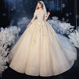 Chic / Beautiful Champagne Bridal Wedding Dresses 2020 Ball Gown Off-The-Shoulder Short Sleeve Backless Appliques Lace Beading Tassel Cathedral Train Ruffle