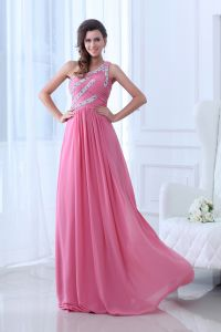 2015 Charming Chiffon Elastic Woven Satin Watermelon A-line long Evening Dresses