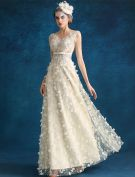 Evening Dress 2016 Beautiful Backless Sequins Flowers Champagne Tulle Long Formal Dress With Sash