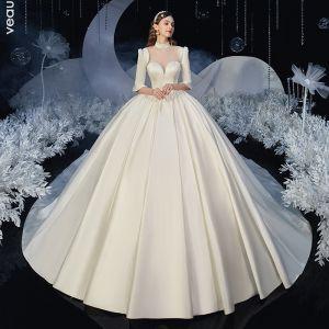 Vintage Ivory Satin Bryllups Brudekjoler 2020 Balkjole Gennemsigtig Høj Hals 1/2 De Las Mangas Halterneck Cathedral Train Flæse
