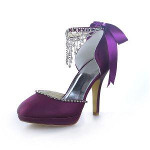 Scintillantes Chaussures De Bal Satin Violet Sandales Talons Aiguilles Avec Un Noeud Et Strass
