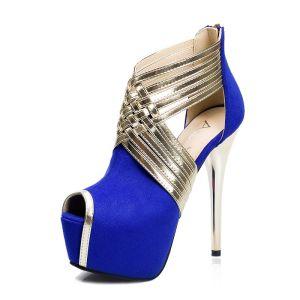 Mode Königliches Blau 2018 Hochhackige 14 cm Reißverschluss Wildleder X-Riemen Sandaletten Peeptoes Abend Stilettos Damenschuhe