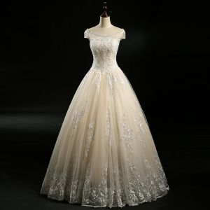 Chic / Beautiful Champagne Wedding Dresses 2018 Ball Gown Beading Sequins Scoop Neck Short Sleeve Floor-Length / Long Wedding