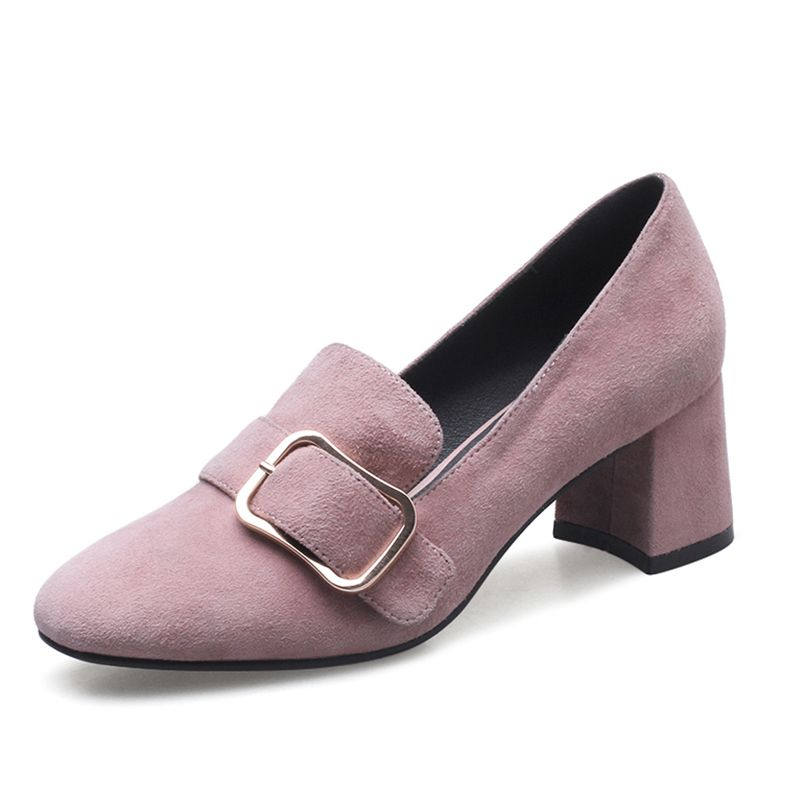 Chic / Beautiful Office Wedding Shoes 2017 Leather Mid Heel Pointed Toe Pumps Buckle Metal Suede