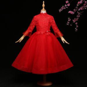 Chic / Belle Rouge Robe Ceremonie Fille 2017 Robe Boule En Dentelle Noeud Col Haut Dos Nu Manches Longues Longueur Cheville Robe Pour Mariage
