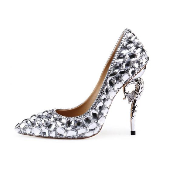 Charming Silver Wedding Shoes 2020 Rhinestone 11 cm Stiletto Heels Pointed Toe Wedding Pumps