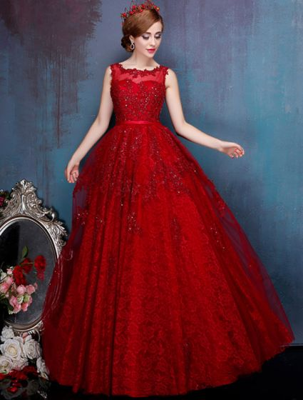 Charming Red Prom Dress Floor Length Backless Formal Gown 2017