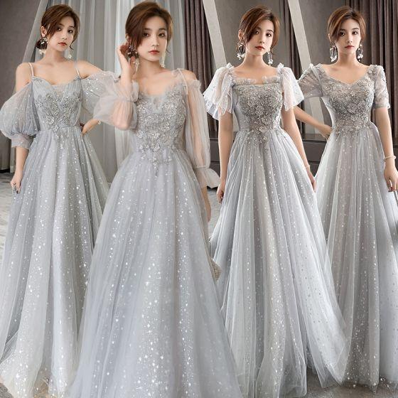 Brillante Gris Vestidos De Damas De Honor 2021 A-Line / Princess Sin Espalda Apliques Con Encaje Rebordear Lentejuelas Largos Ruffle