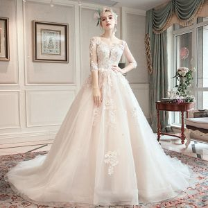 Romantic Champagne See-through Wedding Dresses 2019 A-Line / Princess Scoop Neck 3/4 Sleeve Backless Appliques Lace Beading Chapel Train Ruffle