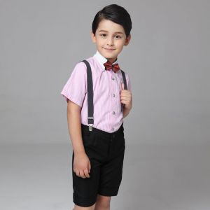 Modern Candy Roze Korte Mouwen Boys Wedding Suits 2017