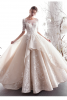 Luxury / Gorgeous Champagne Wedding Dresses 2019 A-Line / Princess Scoop Neck Beading Lace Flower 1/2 Sleeves Backless Floor-Length / Long