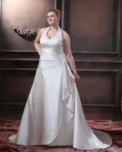 Perles De Satin Volants V Tribunal De Cou Plus La Taille Robe De Mariage Nuptiale Robe