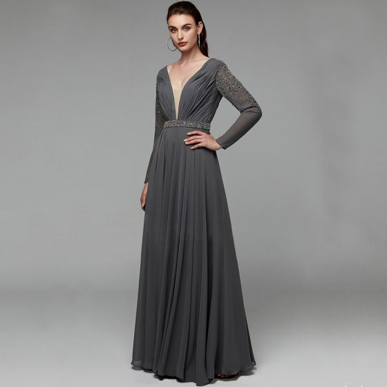 Modern / Fashion Sexy Grey Evening Dresses  2020 A-Line / Princess Deep V-Neck Floor-Length / Long Long Sleeve Backless Handmade  Beading Crystal Sequins Cocktail Party Evening Party Formal Dresses