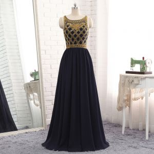Modern / Fashion Navy Blue Evening Dresses  2017 A-Line / Princess Scoop Neck Sleeveless Beading Floor-Length / Long Ruffle Formal Dresses