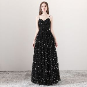 Sexy Black Prom Dresses 2018 A-Line / Princess Spaghetti Straps Sleeveless Star Embroidered Floor-Length / Long Ruffle Backless Formal Dresses