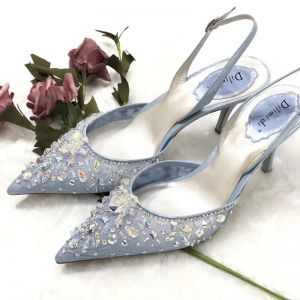 Charmant Bleu Ciel Faux Diamant Paillettes Chaussure De Mariée 2020 Slingbacks 7 cm Talons Aiguilles À Bout Pointu Mariage Talons