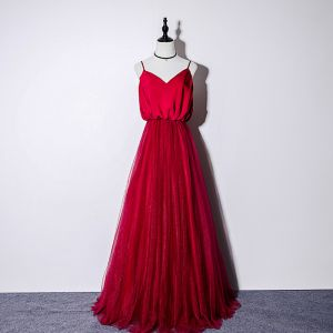Elegant Burgundy Silk Evening Dresses  2019 A-Line / Princess Spaghetti Straps Sleeveless Floor-Length / Long Ruffle Backless Formal Dresses