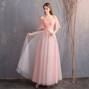 Rabatt Pearl Rosa Brautjungfernkleider 2019 A Linie Off Shoulder 1/2 Ärmel Glanz Tülle Stoffgürtel Lange Rüschen Rückenfreies Kleider Für Hochzeit