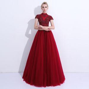 Chic / Belle Robe De Bal 2018 Princesse En Dentelle Fleur Perlage Col Haut Dos Nu Manches Courtes Longue Robe De Ceremonie