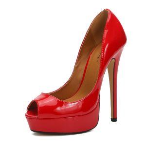Chic / Belle Rouge Club de carnaval Chaussures Femmes 2020 Cuir Verni 16 cm Talons Aiguilles Peep Toes / Bout Ouvert Talons