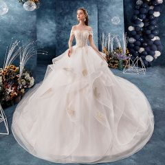 Chic / Beautiful Champagne Wedding Dresses 2019 Ball Gown Off-The-Shoulder Short Sleeve Backless Glitter Tulle Appliques Lace Beading Cathedral Train Cascading Ruffles