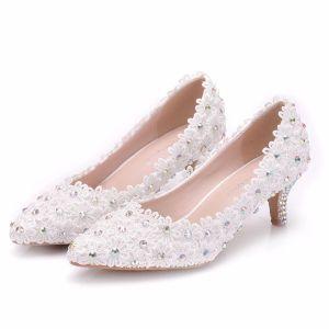 Mooie / Prachtige Witte Bruidsschoenen 2018 Kant Bloem Rhinestone 5 cm Naaldhakken / Stiletto Spitse Neus Huwelijk Pumps