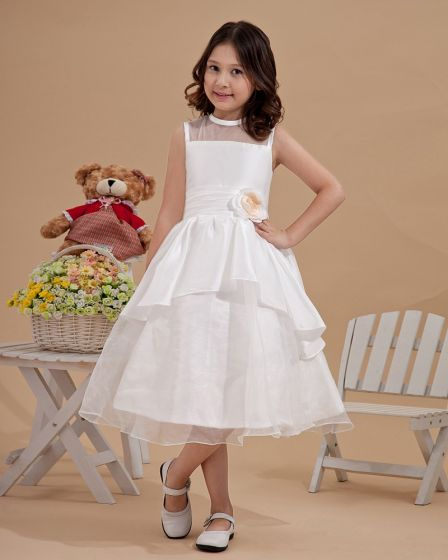 Satin Organza Applique Scoop-Neckline Sleeveless Tea-Length Flower Girl Dresses