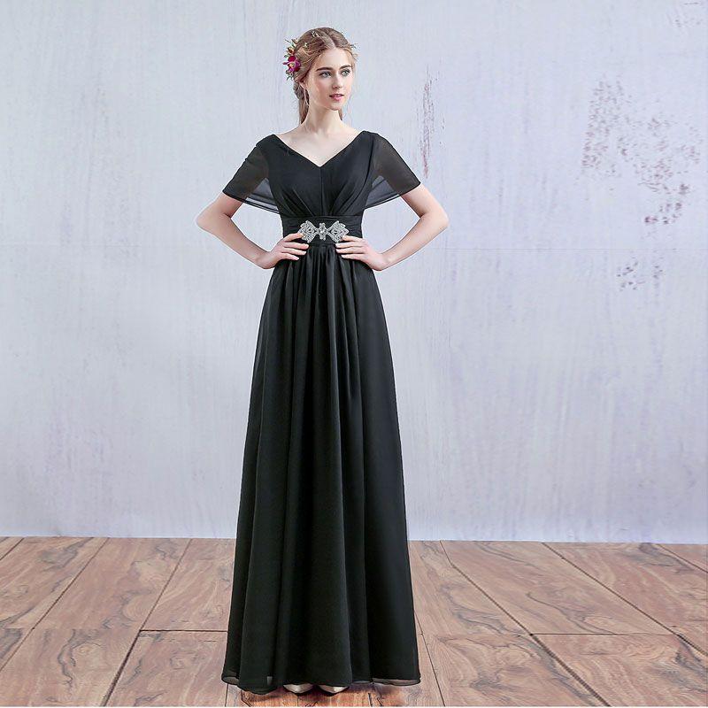 Modest / Simple Watermelon Bridesmaid Dresses 2017 V-Neck Short Sleeve Beading Rhinestone Sash Floor-Length / Long Ruffle Chiffon Wedding Party Dresses