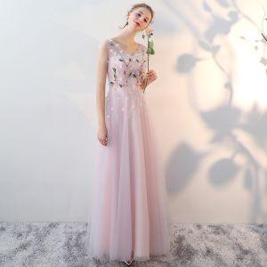 Mooie / Prachtige Blozen Roze Bruidsmeisjes Jurken 2017 A lijn V-Hals Mouwloos Appliques Bloem Kralen Lange Ruglooze Jurken Voor Bruiloft