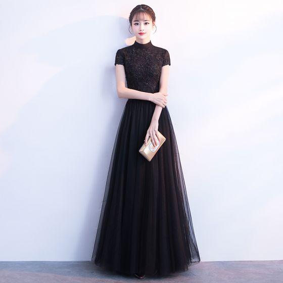 c18ab54b7c Modern   Fashion Black Evening Dresses 2018 A-Line   Princess Beading  Crystal Lace Flower Sequins High Neck ...