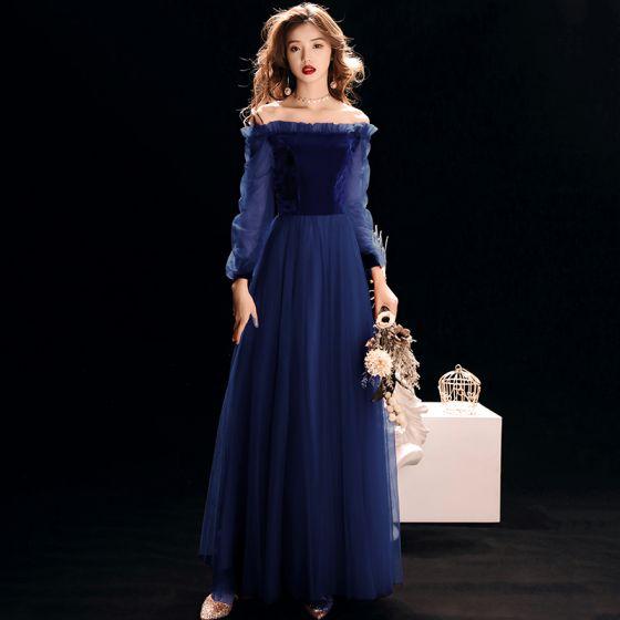 efc51f5f6a Asequible Azul Real Suede Vestidos de noche 2019 A-Line   Princess Fuera  Del Hombro Hinchado Manga ...