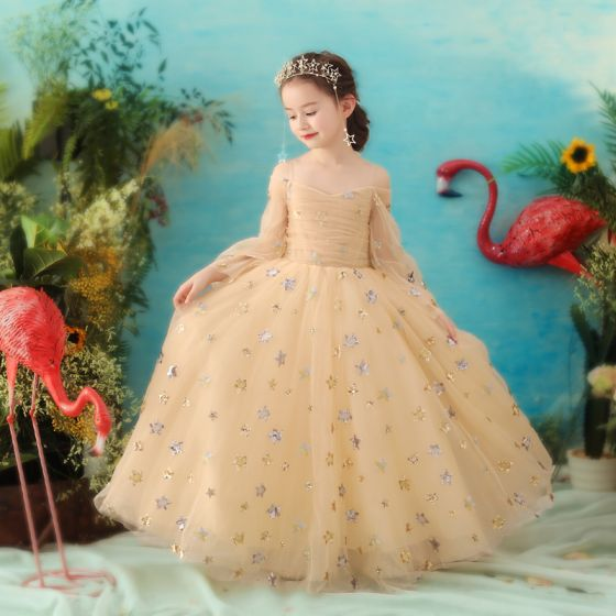 Élégant Doré Robe Ceremonie Fille 2018 Princesse Bretelles Spaghetti Manches Longues Étoile Paillettes Glitter Tulle Longue Volants Dos Nu Robe Pour Mariage