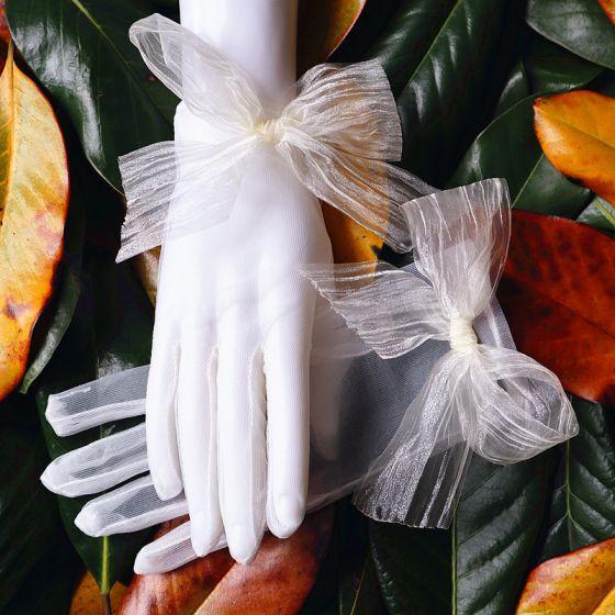 Klasyczna Eleganckie Białe Rękawiczki Ślubne 2020 Przezroczyste Tiulowe Bal Ślub Akcesoria