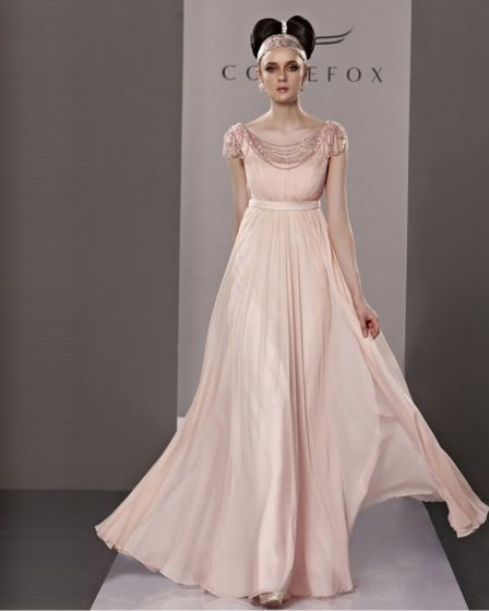 Elegant Bateau Floor Length Beading Ruffles Tencel Charmeuse Evening Dress