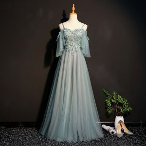 Stunning Sage Green Prom Dresses 2018 Empire Spaghetti Straps 1/2 Sleeves Appliques Lace Beading Floor-Length / Long Ruffle Backless Formal Dresses