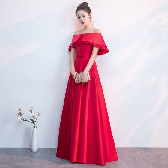 Classy Red Evening Dresses  2019 A-Line / Princess Off-The-Shoulder Bow Short Sleeve Backless Floor-Length / Long Formal Dresses